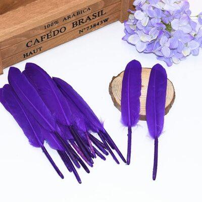 Перья утиные 10-15 см. 20 шт. Фиолетовый цвет