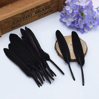 Перья утиные 10-15 см. 20 шт. Черный цвет