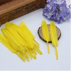 Перья утиные 10-15 см. 20 шт. Желтый цвет