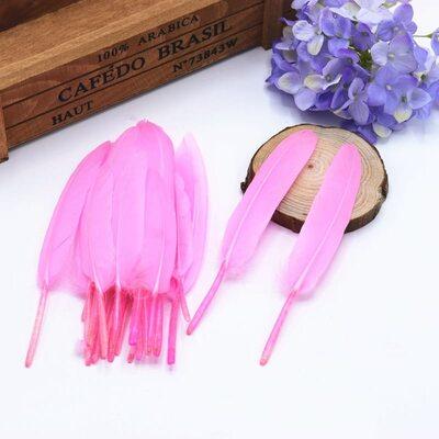 Перья утиные 10-15 см. 20 шт. Розовый цвет