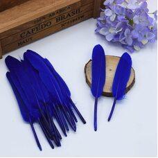 Перья утиные 10-15 см. 20 шт. Синего цвета