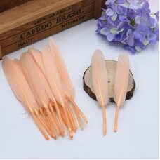 Перья утиные 10-15 см. 20 шт. Персиковый цвет