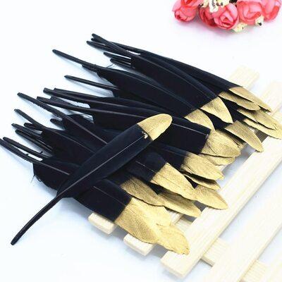Перья утиные 10-15 см. 20 шт. Черно-золотой цвет
