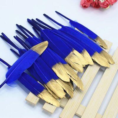 Перья утиные 10-15 см. 20 шт. Сине-золотистые