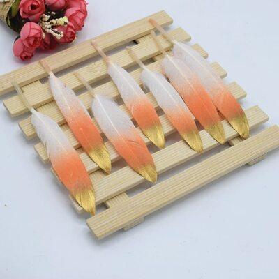 Перья утиные 10-15 см. 20 шт. Бело-оранжево-золотистые