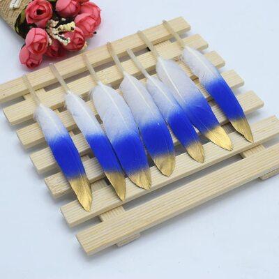 Перья утиные 10-15 см. 20 шт. Бело-сине-золотые