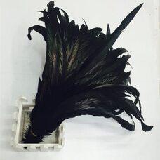 Перья петуха с отливом 30-35 см. Черный цвет - 1 шт.