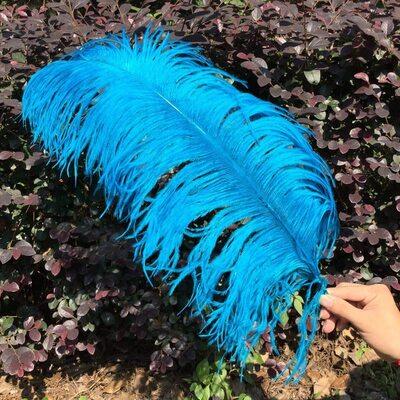 Премиум перья страуса 55-60 см. Голубой цвет
