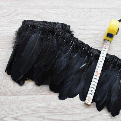 Тесьма из перьев гуся 15-20 см, 1м. Черный цвет
