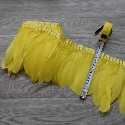 Тесьма из перьев гуся 15-20 см, 1м. Желтый цвет