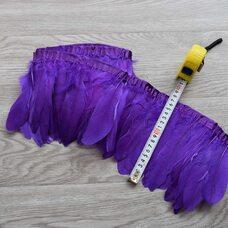 Тесьма из перьев гуся 15-20 см, 1м. Фиолетовый цвет
