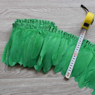 Тесьма из перьев гуся 15-20 см, 1м. Зеленый цвет