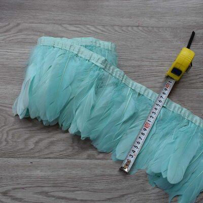 Тесьма из перьев гуся 15-20 см, 1м. Мятный цвет