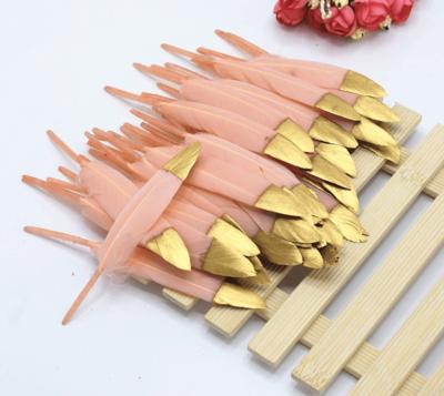 Перья утиные 10-15 см. 20 шт. Персиковый с золотом