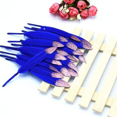 Перья утиные 10-15 см. 20 шт. Сине-розовые