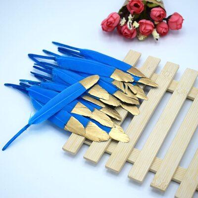 Перья утиные 10-15 см. 20 шт. Голубые с золотом