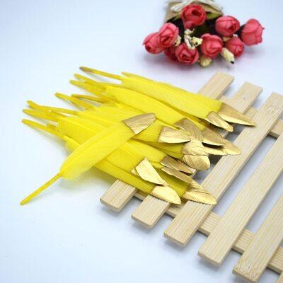 Перья утиные 10-15 см. 20 шт. Желто-золотистые