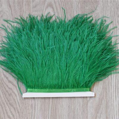 Тесьма из перьев страуса 13-15 см, 1м. - Зеленый цвет