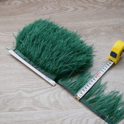 Тесьма из перьев страуса 8-11 см, 1м. - Темно-зеленый цвет