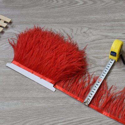Тесьма из перьев страуса 8-10 см, 1м. - Красный цвет