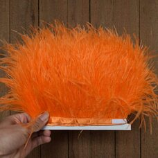 Тесьма из перьев страуса 13-15 см, 1м. - Оранжевый цвет