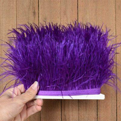 Тесьма из перьев страуса 13-15 см, 1м. - Фиолетовый цвет