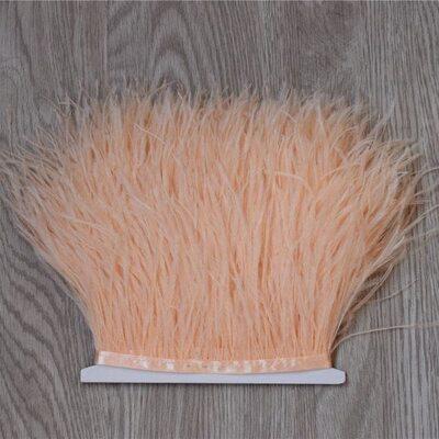 Тесьма из перьев страуса 13-15 см, 1м. - Персикового цвета