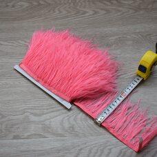 Тесьма из перьев страуса 8-10 см, 1м. - Ярко-розовый цвет