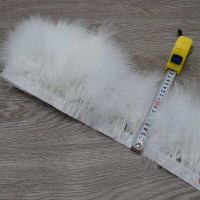 Тесьма из перьев марабу на ленте 15-18 см, 1м. Белый цвет