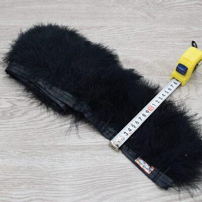 Тесьма из перьев марабу на ленте 15-18 см, 1м. Черный цвет