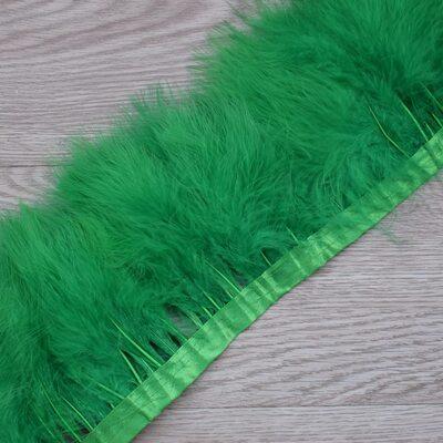 Тесьма из перьев марабу на ленте 15-18 см, 1м. Зеленый цвет