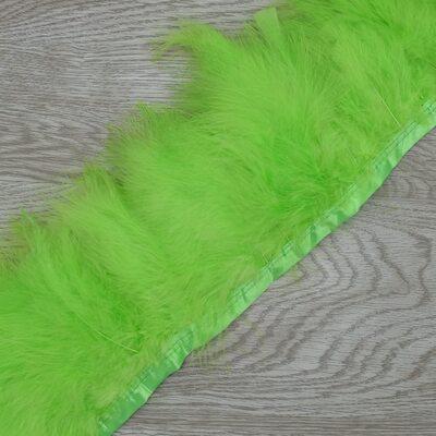 Тесьма из перьев марабу на ленте 15-18 см, 1м. Зеленое яблоко