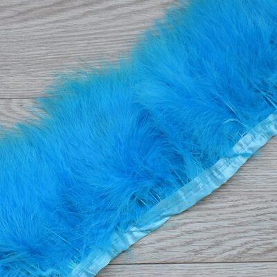 Тесьма из перьев марабу на ленте 15-18 см, 1м. Голубой цвет
