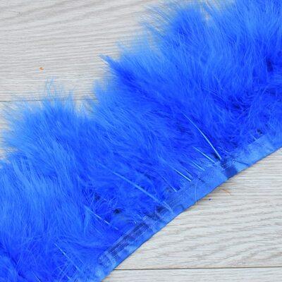 Тесьма из перьев марабу на ленте 15-18 см, 1м. Синего цвета