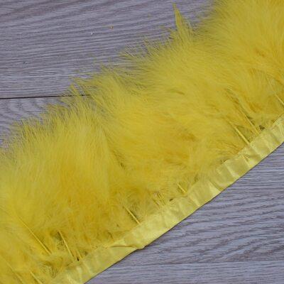 Тесьма из перьев марабу на ленте 15-18 см, 1м. Желтый цвет