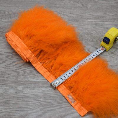 Тесьма из перьев марабу на ленте 15-18 см, 1м. Оранжевый цвет
