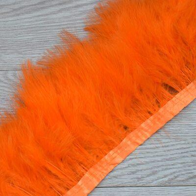 Тесьма из перьев марабу на ленте 15-20 см, 1м. Оранжевый цвет