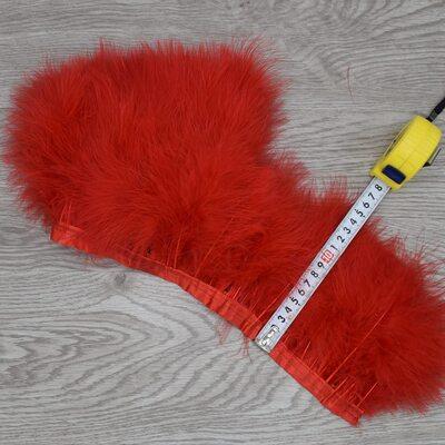Тесьма из перьев марабу на ленте 15-18 см, 1м. Красный цвет