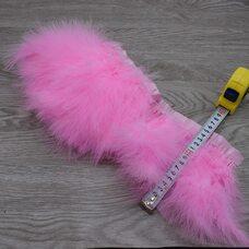 Тесьма из перьев марабу на ленте 15-18 см, 1м. Розовый цвет