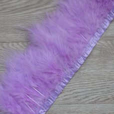 Тесьма из перьев марабу на ленте 15-18 см, 1м. Светло-фиолетовый цвет