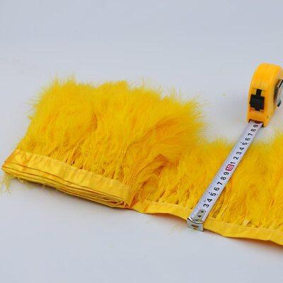 Тесьма из перьев марабу на ленте 15-18 см, 1м. Золотистого цвета