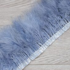 Тесьма из перьев марабу на ленте 15-18 см, 1м. Серый цвет