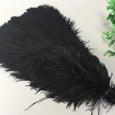Премиум перья страуса 65-70 см. Черный цвет
