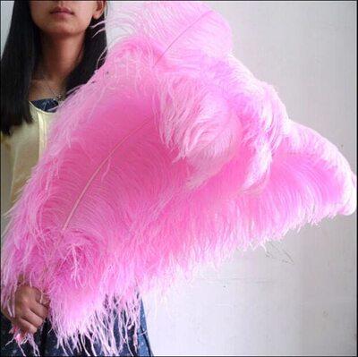 Премиум перья страуса 65-70 см. Розовый цвет