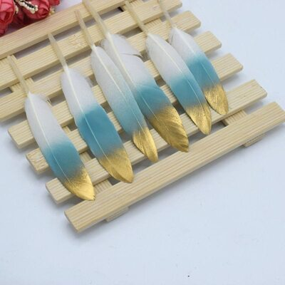 Перья утиные 10-15 см. 20 шт. Бело-голубые с золотом