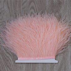 Тесьма из перьев страуса 13-15 см, 1м. - Бледно-розовый цвет