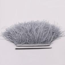 Тесьма из перьев страуса 13-15 см, 1м. - Серебристый цвет (Silver)