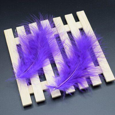 Перья марабу 10-16 см. 20 шт. Фиолетового цвета