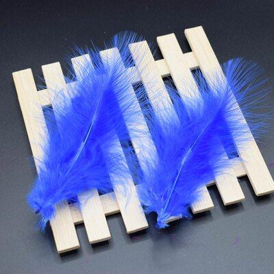 Перья марабу 10-16 см. 20 шт. Синего цвета