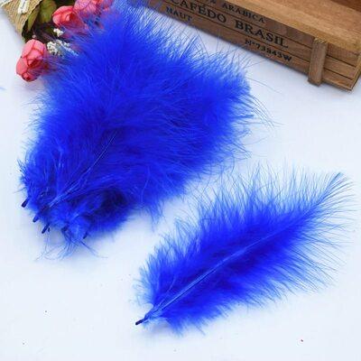 Перья марабу (лебяжьи) 10-16 см. 20 шт. Синего цвета